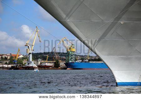 background - big shipyard with cranes and docks