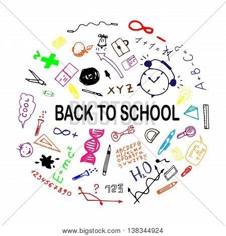 Back to school sketch illustration. Freehand drawing doodles. Hand drawn set of school sign. Vector illustration