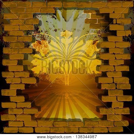 Vector illustration of grunge background with texture and pattern in the masonry.