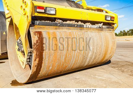 Part of road roller during the new road construction process.