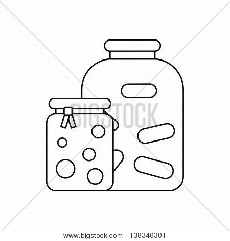 Jars with pickled vegetables and jam icon in outline style isolated vector illustration