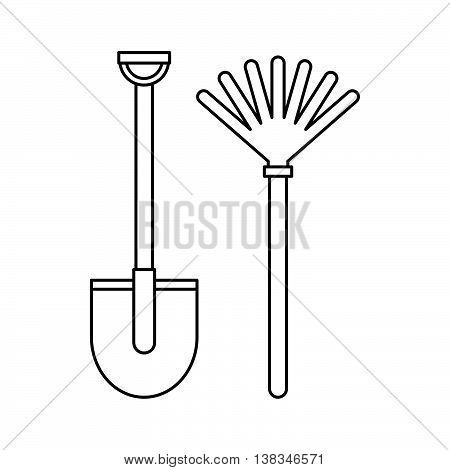 Rake and shovel icon in outline style isolated vector illustration
