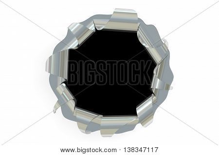 Bullet hole 3D rendering isolated on white background