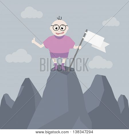 Loser in big glasses stands on a high hill and holding a white flag