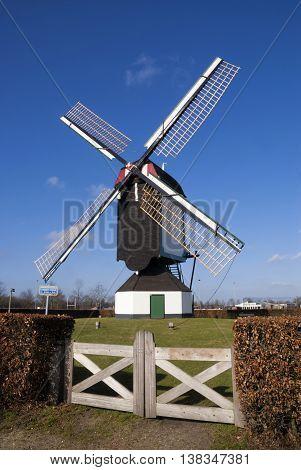 Windmill Molen van Jetten near Uden in the Dutch province Noord-Brabant