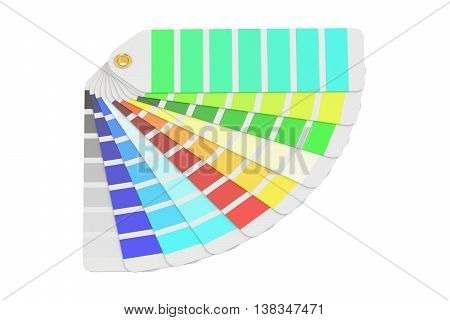 Pantone color palette guide 3D rendering isolated on white background