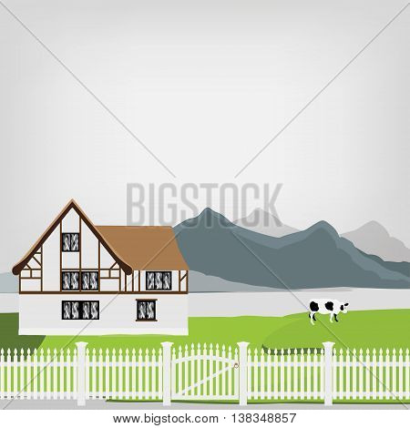 Vector illustration of medieval house. Fachwerk house traditional cottage. Mountain landscape. Grazing cow. Country side