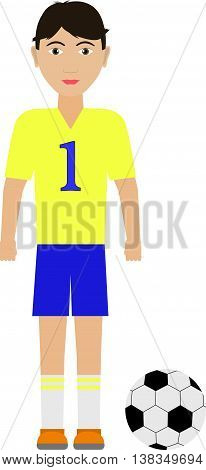 Vector illustration of a boy soccer player with a soccer ball. Isolated white background. Flat style.