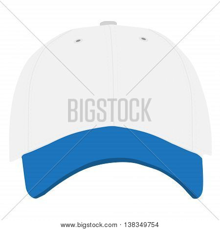 Vector illustration of blue and white baseball cap front view isolated on white background. Baseball cap template design