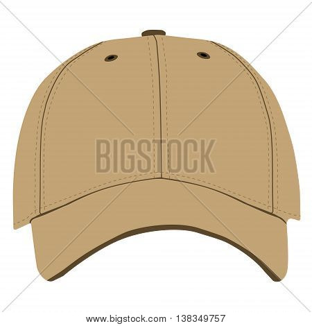Vector illustration of brown baseball cap front view isolated on white background. Baseball cap template design