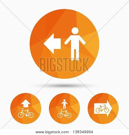 Pedestrian road icon. Bicycle path trail sign. Cycle path. Arrow symbol. Triangular low poly buttons with shadow. Vector