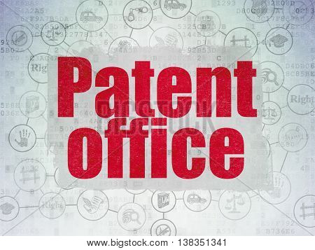 Law concept: Painted red text Patent Office on Digital Data Paper background with  Scheme Of Hand Drawn Law Icons
