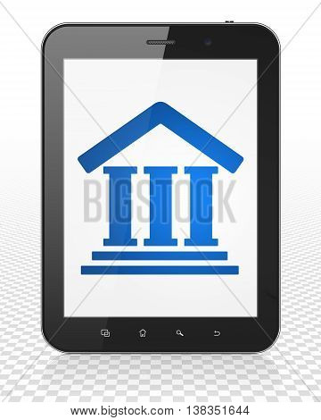 Law concept: Tablet Pc Computer with blue Courthouse icon on display, 3D rendering