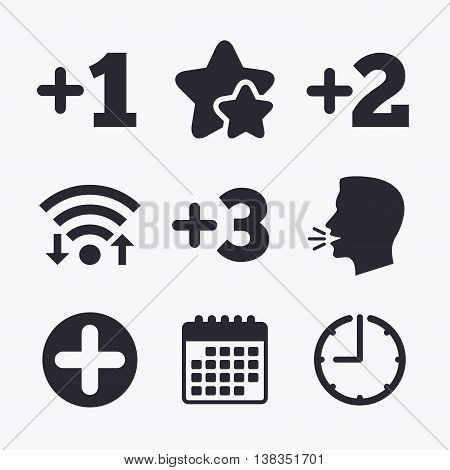 Plus icons. Positive symbol. Add one, two, three and four more sign. Wifi internet, favorite stars, calendar and clock. Talking head. Vector