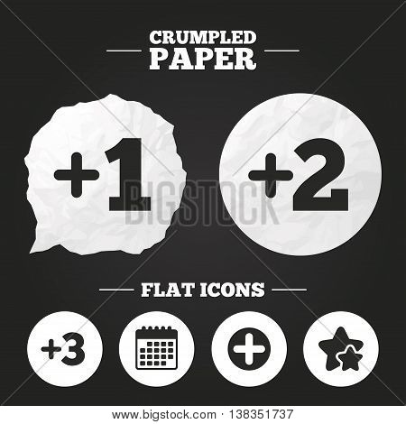 Crumpled paper speech bubble. Plus icons. Positive symbol. Add one, two, three and four more sign. Paper button. Vector