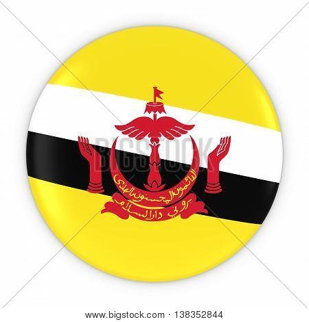 Bruneian Flag Button - Flag Of Brunei Badge 3D Illustration