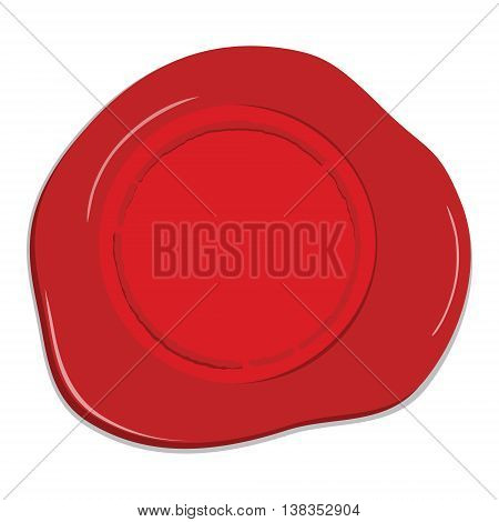 Vector illustration empty red wax seal. Red wax post stamp isolated on white background
