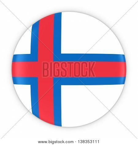 Faroese Flag Button - Flag Of Faroe Islands Badge 3D Illustration