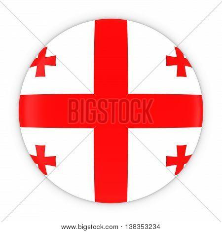 Georgian Flag Button - Flag Of Georgia Badge 3D Illustration