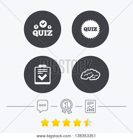 Quiz icons. Human brain think. Checklist symbol. Survey poll or questionnaire feedback form. Questions and answers game sign. Chat, award medal and report linear icons. Star vote ranking. Vector