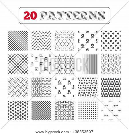 Ornament patterns, diagonal stripes and stars. Quiz icons. Checklist with check mark symbol. Survey poll or questionnaire feedback form sign. Geometric textures. Vector