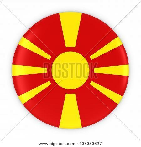 Macedonian Flag Button - Flag Of Macedonia Badge 3D Illustration