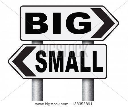 big small size matters no deal or issue 3D illustration, isolated, on white
