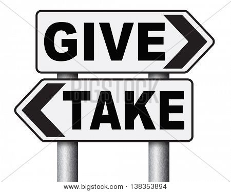 give take to charity and make a contribution or donation altruism and generous giving and donate cheap grudging volunteering 3D illustration, isolated, on white