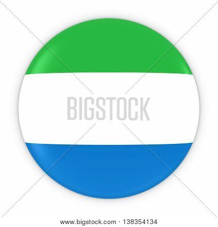 Sierra Leonean Flag Button - Flag Of Sierra Leone Badge 3D Illustration