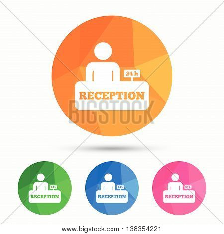 Reception sign icon. 24 hours Hotel registration table with administrator symbol. Triangular low poly button with flat icon. Vector