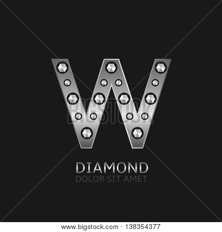 Silver W letter with diamonds. Luxury symbol, Vector illustration