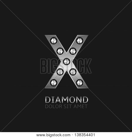 Silver X letter with diamonds. Luxury symbol, Vector illustration
