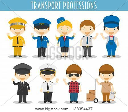 Vector Set of Transport Professions in cartoon style