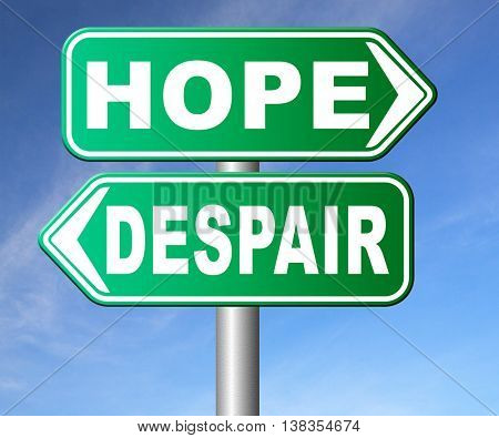 hope or despair hopeful hopeless lost losing faith or desperation 3D illustration, isolated, on white