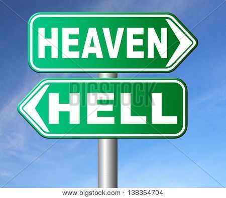 heaven or hell devils and angels salvation from evil save your soul and spirit search and find Jesus and God 3D illustration, isolated, on white