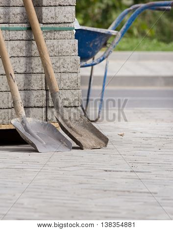 Two Shovels At Construction Site