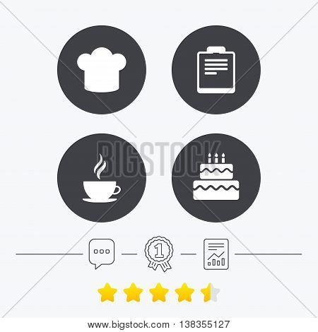 Coffee cup icon. Chef hat symbol. Birthday cake signs. Document file. Chat, award medal and report linear icons. Star vote ranking. Vector