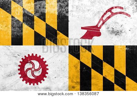 Flag Of Baltimore County, Maryland, Usa, With A Vintage And Old