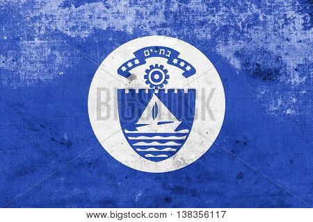 Flag Of Bat Yam, Israel, With A Vintage And Old Look