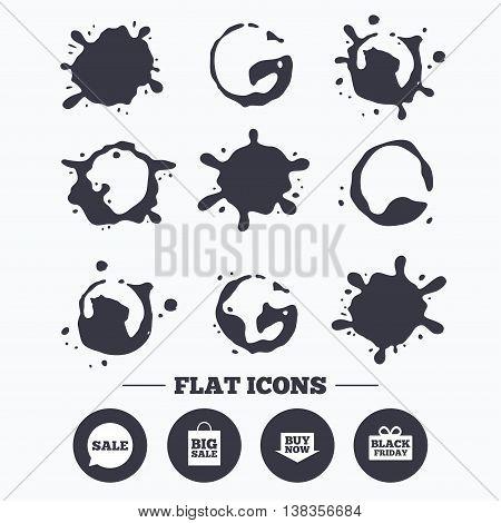 Paint, coffee or milk splash blots. Sale speech bubble icons. Buy now arrow symbols. Black friday gift box signs. Big sale shopping bag. Smudges splashes drops. Vector