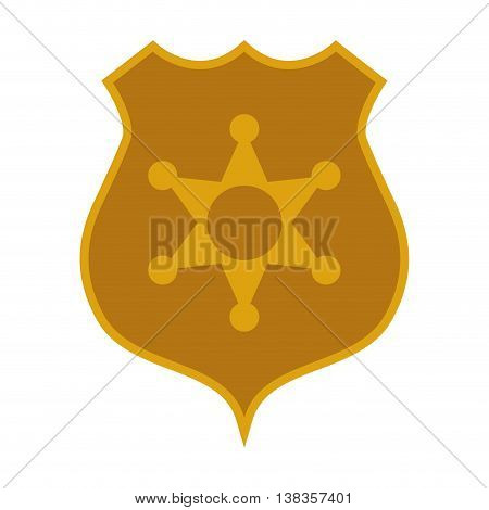 flat design police badge icon vector illustration