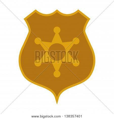 flat design police badge icon vector illustration