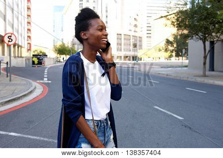 Afro American Woman Making A Phone Call