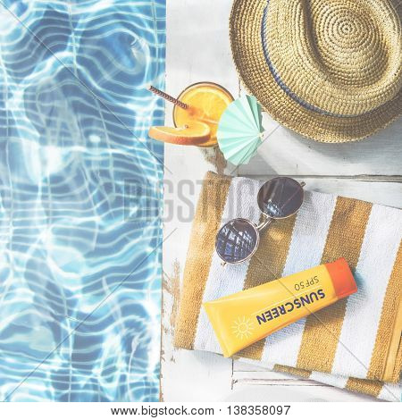 Summer Pool Sunglasses Sunscreen Chill Hat Concept