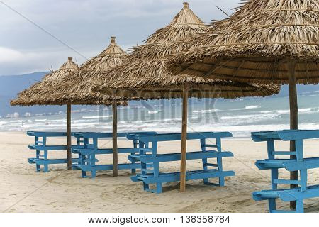 Palm Shelters In China Beach In Da Nang