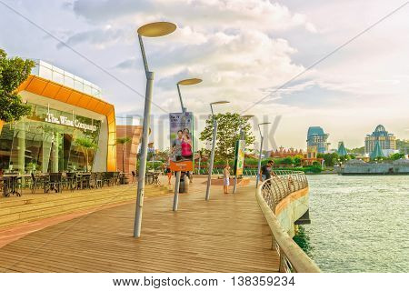 Sentosa Boardwalk Leading From Singapore Mainland To Sentosa Island