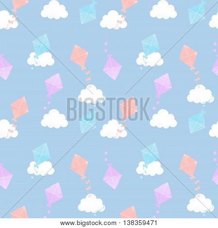 Different colors Kite seamless cloud texture. Background kite.