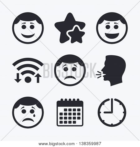 Circle smile face icons. Happy, sad, cry signs. Happy smiley chat symbol. Sadness depression and crying signs. Wifi internet, favorite stars, calendar and clock. Talking head. Vector