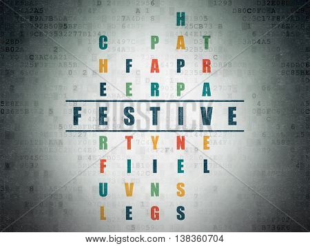 Holiday concept: Painted blue word Festive in solving Crossword Puzzle on Digital Data Paper background
