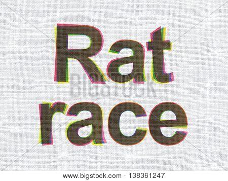 Political concept: CMYK Rat Race on linen fabric texture background